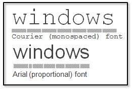 Proportional versus Monospace font