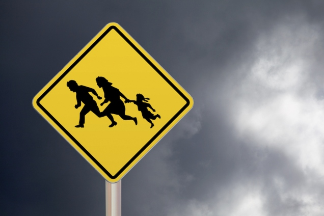 Crossing sign - Illegal migrants