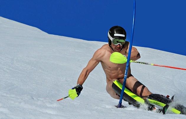Wife skiing naked